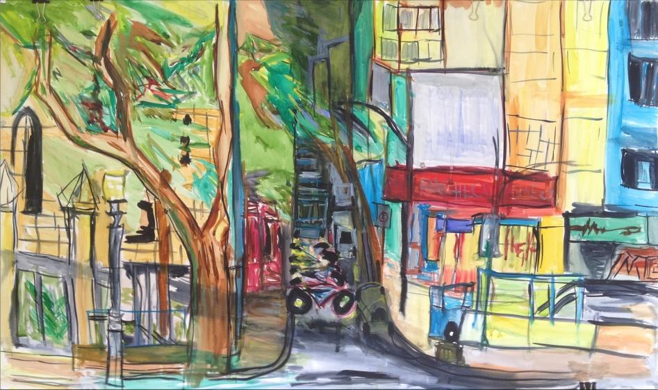 "Rua Benjamim Constant, Rio De Janeiro, watercolor on paper 36"" x 36"""