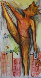 The Clash. 2m x 1m. Watercolor on Paper